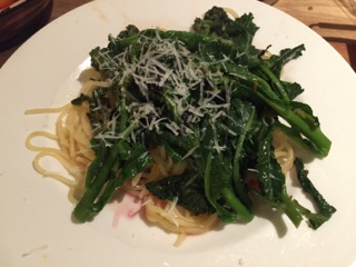 Purple sprouting broccoli with wild garlic and orange butter