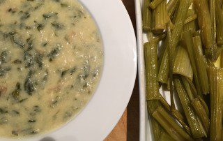 Organic celery leaf and potato soup and Braised celery stalks